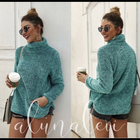 Modern Fit Fuzzy Green Pull Over Mock Neck Sweater